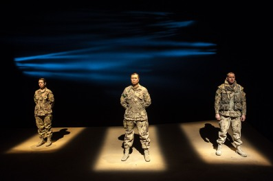 L-R Sarah Finn, John Ng, Drew Moore in spotlights
