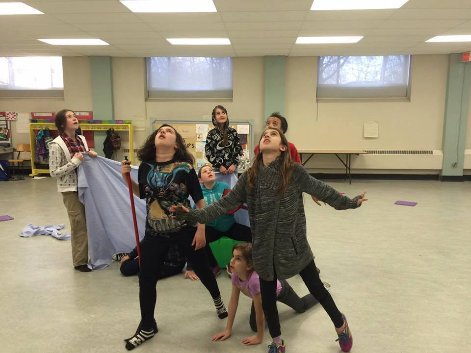 "OUAK's Junior English class rehearsing ""The Flying Machine""; Photo courtesy of Simon L. Lalande"